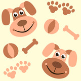 seamless background with dogs, paws and bones