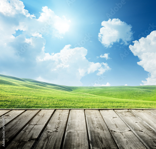 Green field and wood floor