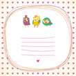 Owls doodle frame and hearts seamless background