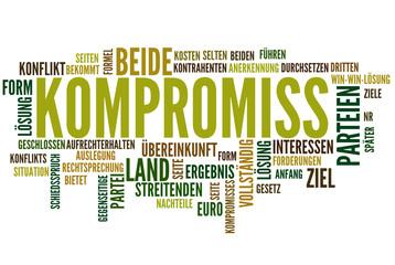 Kompromiss (Konflikt, Einigung; Tag cloud)