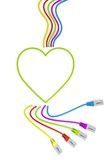 Illustration of a happy heart icon with colourful network cable