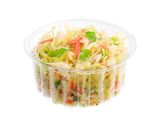 Coleslaw in a plastic packaging