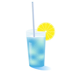 summer cocktail with a straw and a slice of lemon