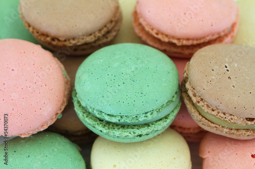 Colorful macaroons, close up