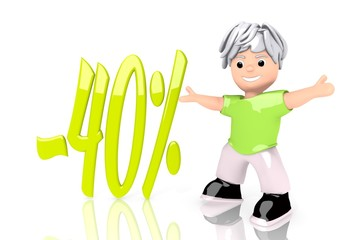 3d graphic of a -40 discount icon  with cute 3d character