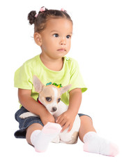 Small hispanic girl with a puppy chihuahua dog