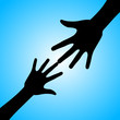 Silhouette of hands (adult and child)