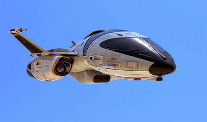 new space ship blue sky