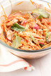 Homemade shredded carrot and chicken salad
