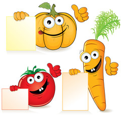 Cute Cartoon Vegetables with Sign