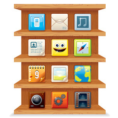 Wood Shelves with Computer Apps Icons.