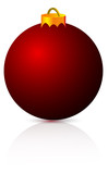 red christmas ball with reflection and soft shadow