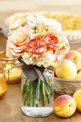 Bouquet of roses and carnations. Selective focus