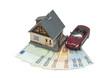 Индивидуальный дом, машина  на банкнотах евро