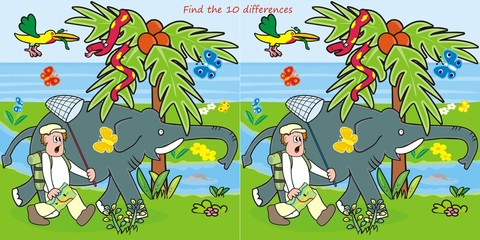 10 differences-man and elephant