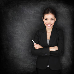 Woman teacher or business woman at blackboard