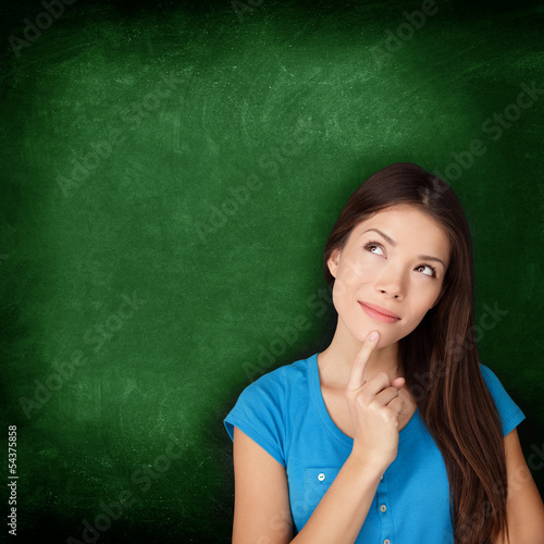 Thinking woman student or teacher with blackboard