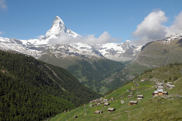 Village of Findeln  beneath the Matterhorn in the Swiss Alps
