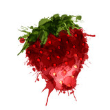 Strawberry made of colorful splashes on white background
