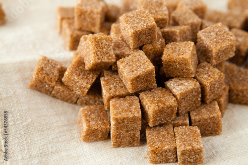 refined cane sugar cubes on a tissue