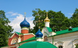 Domes and crosses of the Pskov-Caves Monastery poster