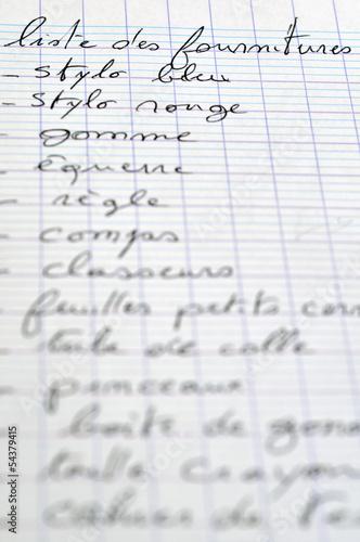 Liste des fournitures scolaires