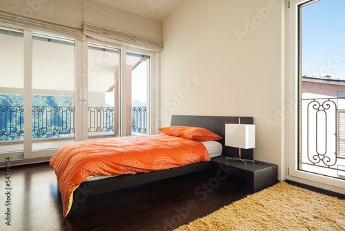 interior luxury apartment, bedroom with single bed