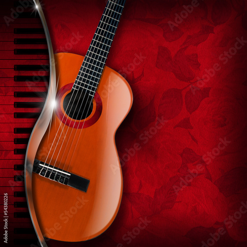 Acoustic Guitar and Piano Red Flowers