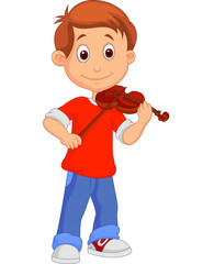 Boy playing his violin