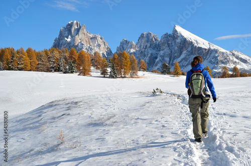 Hiking in the Dolomites in autumn