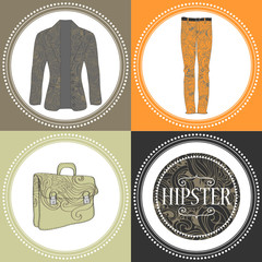 Hipster clothes decorative set