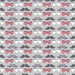 Seamless pattern with bow ties and mustaches