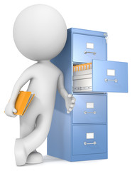 Organization.The Dude leaning nst file cabinet.Holding file.