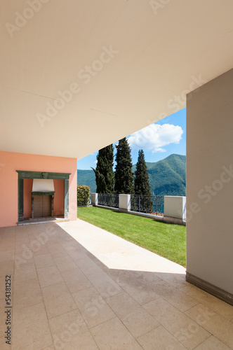 Interior apartment with garden, view from veranda