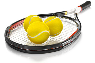 Tennis Racket with Tennis Balls