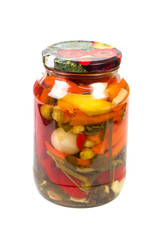 Pickled peppers and spices in a bank