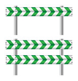 Green and white construction barricade