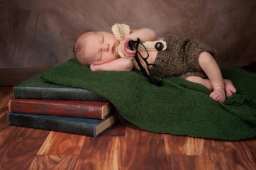 Newborn Baby Boy with Reading Glasses
