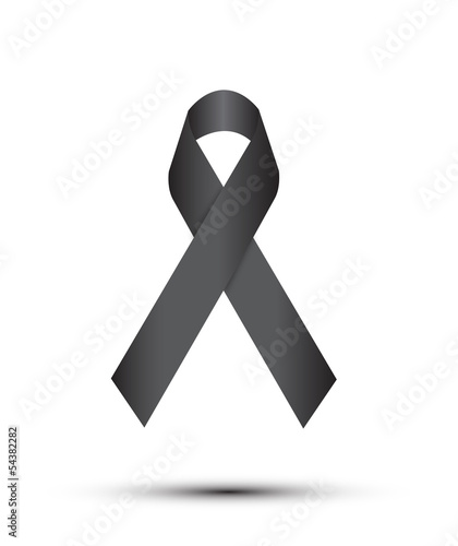 Black ribbon on white