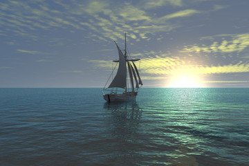 sunset sailing boat