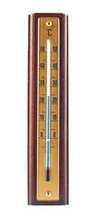 Wooden celsius thermometer isolated