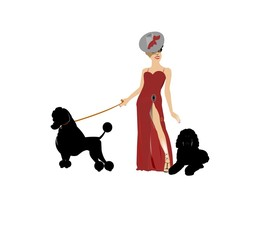diva in red gown with slit and her poodles facing right
