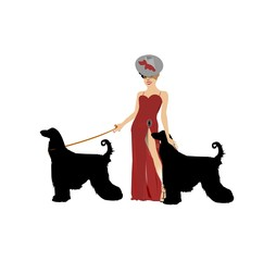 diva in red gown with her afghan dogs facing left