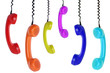 six colored phones hanging