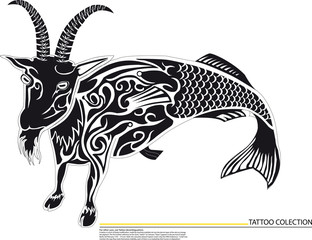 goat with fish,Illustration of Aries the ram zodiac