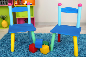 Small and colorful chairs for little kids