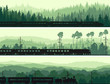 Horizontal banners of locomotive, train and hills coniferous woo - 54385834