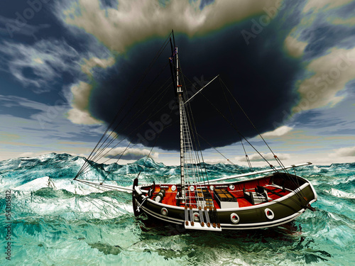 Pirate ship on stormy weather