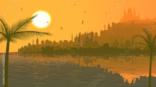 Illustration of big arab city by sea at sunset. - 54385836