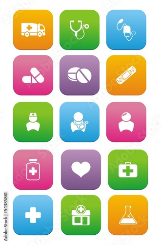 medical flat style icon sets